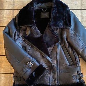 BlankNYC Faux fur lined moto jacket